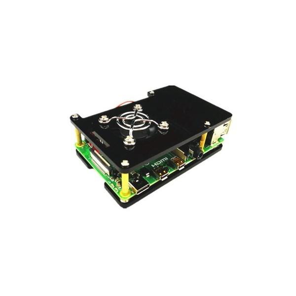 Boîtier de protection pour Raspberry Pi 4 (noir) + ventilateur