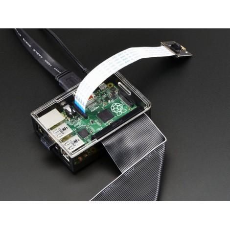 Boîtier pour carte Raspberry Pi B+ / Pi 2 / Pi 3 gris fumé, avec couvercle transparent