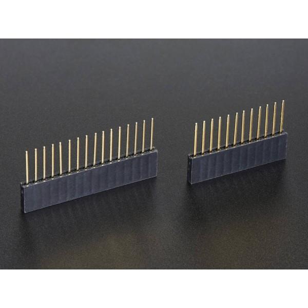 Stapelbare Buchsenleiste mit 12 und 16 Klemmen für die Feather Platine