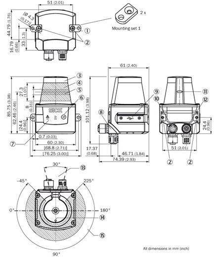 Dimensions of the laser scanner Sick TIM351