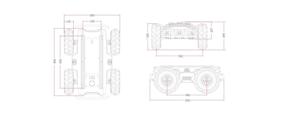 Dimensions of the Scout 2.0 UGV mobile robot from AgileX