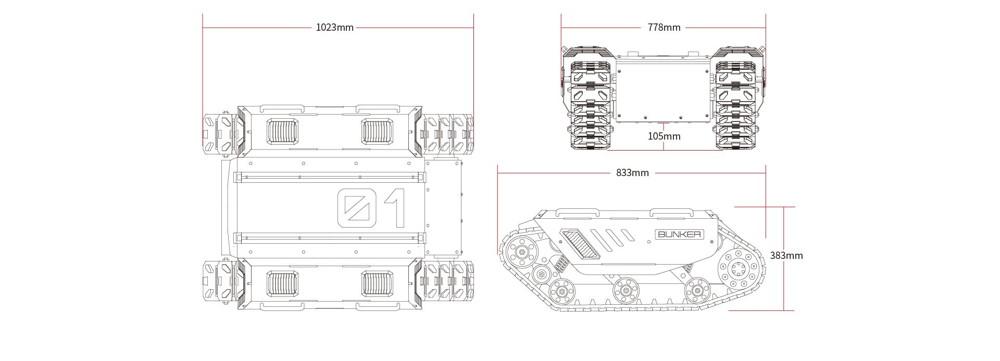 Vues techniques - Robot mobile Bunker - Agilex