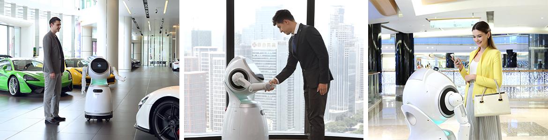 Bandeau de 3 photos du robot Cruzr dans différents environnements professionnels
