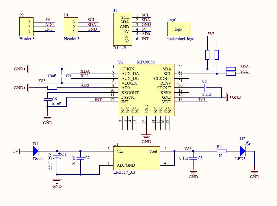 Schéma technique de l'accéléromètre 3 axes et gyroscope Me