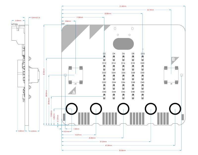 Technisches Diagramm der neue micro:bit V2 Platine