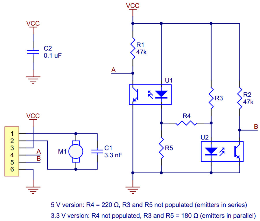 Pololu 3.3V optical encoder kit schematics
