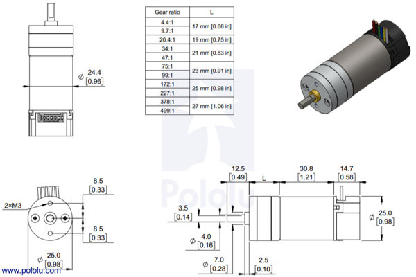 Diagram that shows the dimensions of the 25D mm line of gearmotors