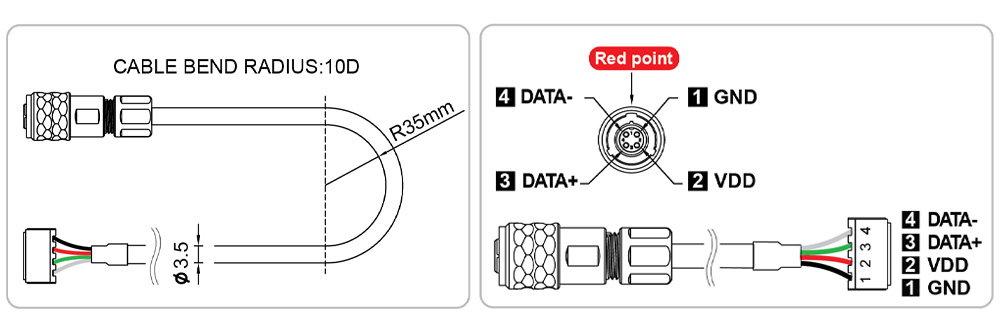 cables du servomoteur Dynamixel waterproof XW540-T260-R