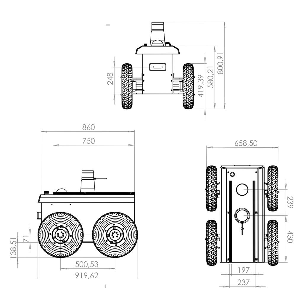 Dessins techniques - Robot mobile research RR100