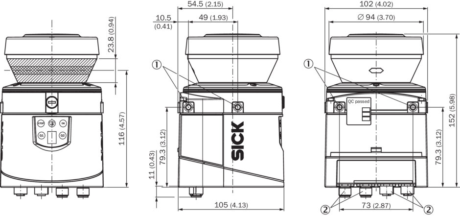 LIDAR Sick LMS111-10100 technical drawing