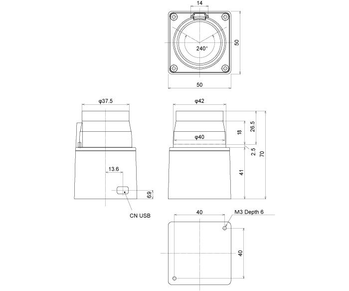 Dimensions of the laser range finder Hokuyo URG-04-LX-UG01