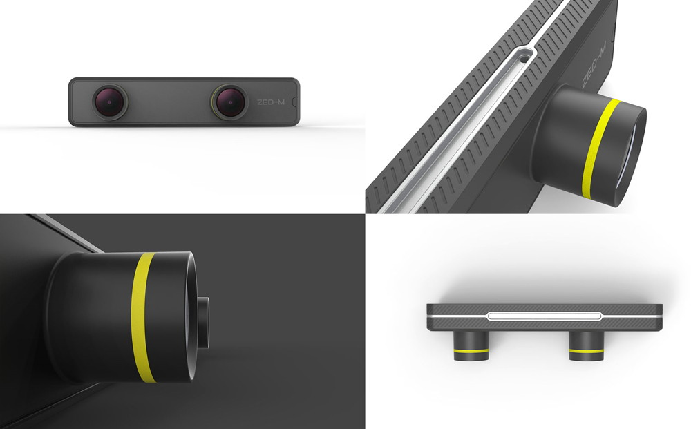 Mosaic of illustrations of the ZED Mini 3D camera with depth detection